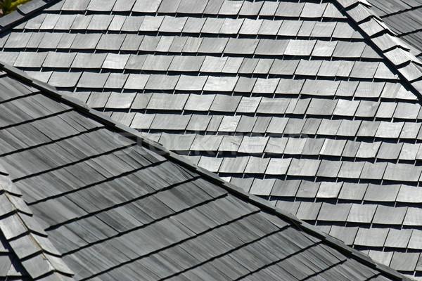 Fából készült néhány tetők elnyűtt viharvert textúra Stock fotó © chrisbradshaw