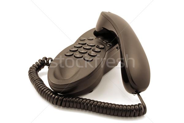 Primo piano nero telefono bianco tecnologia sfondo Foto d'archivio © chrisbradshaw