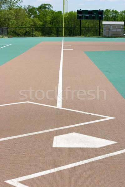 Baseball pálya lefelé néz otthon tányér sport zöld Stock fotó © chrisbradshaw