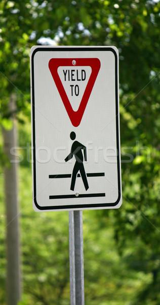 Pedonale metal segno autostrada rosso Foto d'archivio © chrisbradshaw