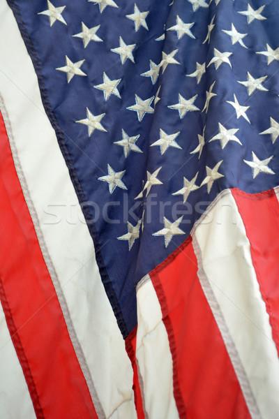 Zászló közelkép fúj szellő kék piros Stock fotó © chrisbradshaw