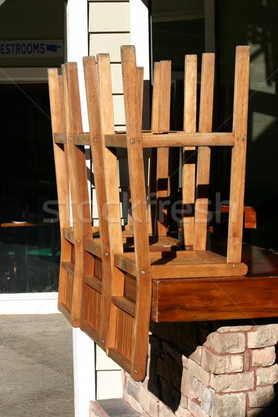 Köteg egymásra pakolva zárva bár fa étterem Stock fotó © chrisbradshaw