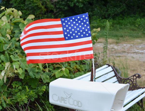 почтовый ящик флаг белый американский флаг звезды Сток-фото © chrisbradshaw