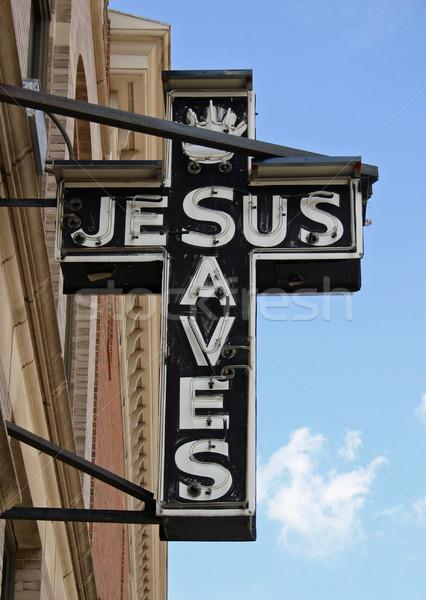 Jézus felirat neonreklám olvas kereszt templom Stock fotó © chrisbradshaw