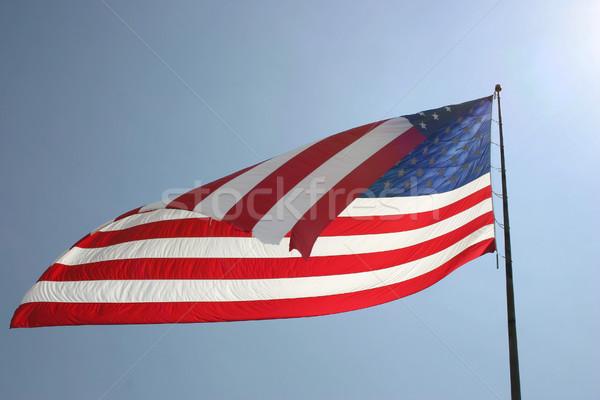флаг Blue Sky американский флаг свободу ветер Сток-фото © chrisbradshaw