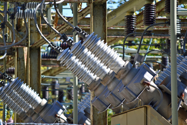Vue haute tension métal réseau industrie câble Photo stock © chrisbradshaw