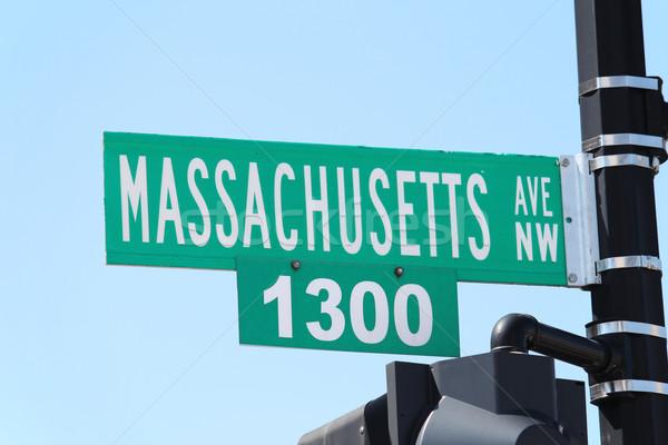Jelzőtábla Washington DC olvas Massachusetts út utca Stock fotó © chrisbradshaw