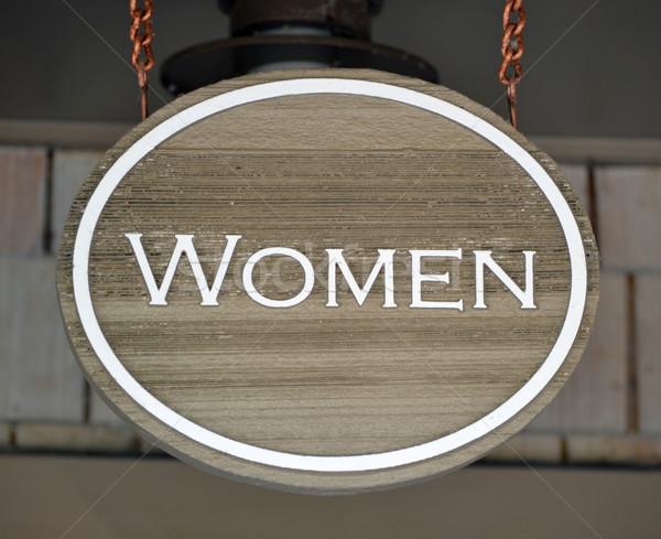 Nők felirat fa tábla fa fürdőszoba információ Stock fotó © chrisbradshaw