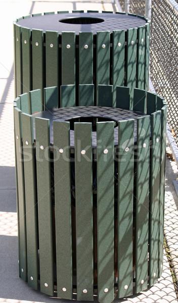 мусор два Солнечный парка зеленый контейнера Сток-фото © chrisbradshaw