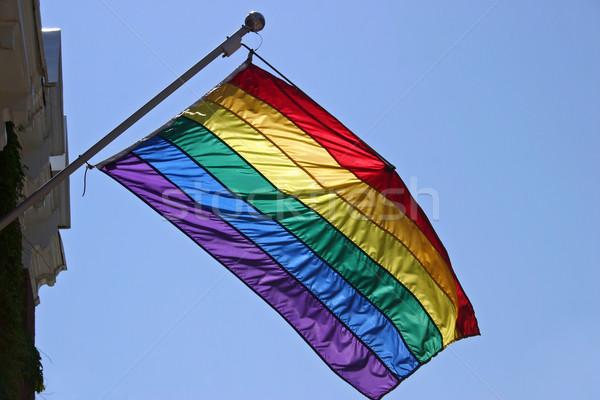 Stockfoto: Homo · trots · vlag · opknoping · kant · gebouw