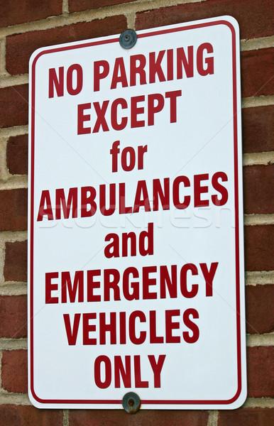 Stock fotó: Parkolni · tilos · felirat · fehér · kórház · piros · park