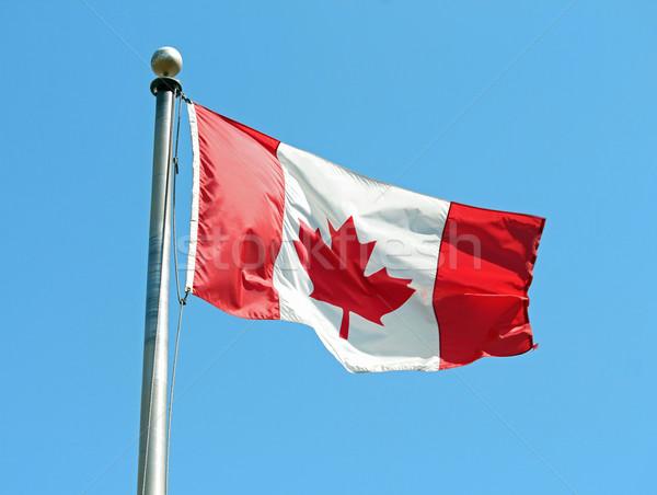 Drapeau canadien vent ciel bleu pavillon tissu Photo stock © chrisbradshaw