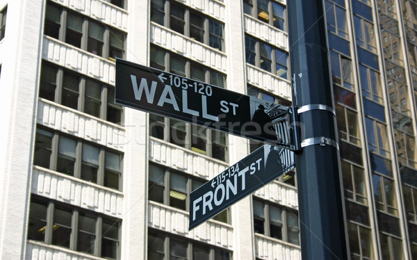 Wall Street teken financiële New York City business portefeuille Stockfoto © chrisbradshaw