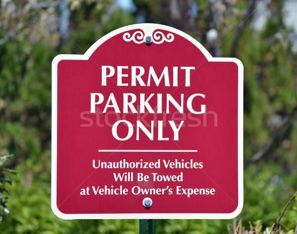Licença estacionamento vermelho assinar leitura parque Foto stock © chrisbradshaw