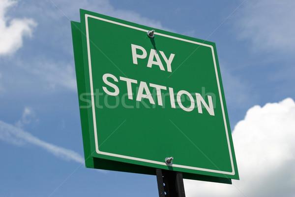 Illetmény állomás zöld felirat háttér izolált Stock fotó © chrisbradshaw