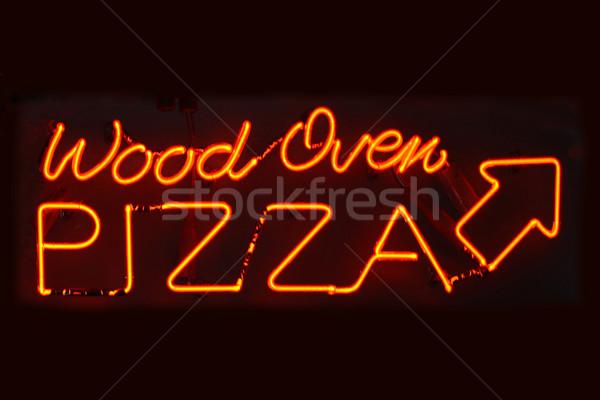Legno forno pizza segno arancione Foto d'archivio © chrisbradshaw