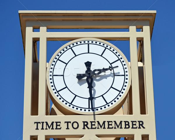 Reloj moderna ciudad palabras tiempo cielo Foto stock © chrisbradshaw