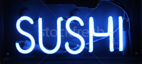 Szusi felirat kék neonreklám hal étterem Stock fotó © chrisbradshaw