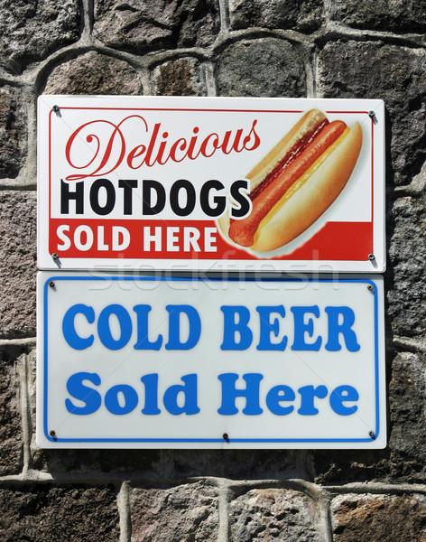 étel felirat kettő feliratok hirdet forró Stock fotó © chrisbradshaw