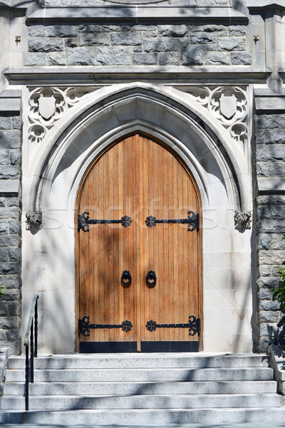 Chiesa porte due bella rovere ingresso Foto d'archivio © chrisbradshaw