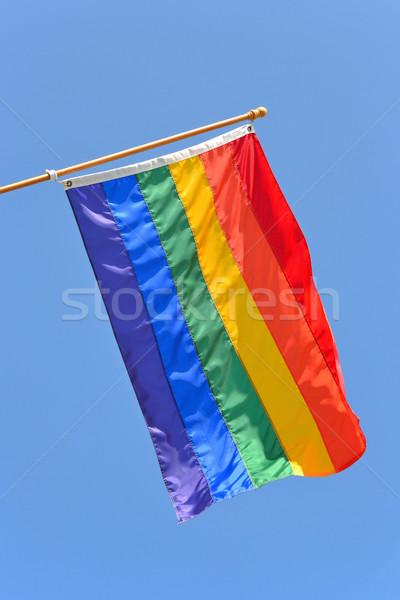 ゲイ 誇り フラグ 風 青空 ストックフォト © chrisbradshaw