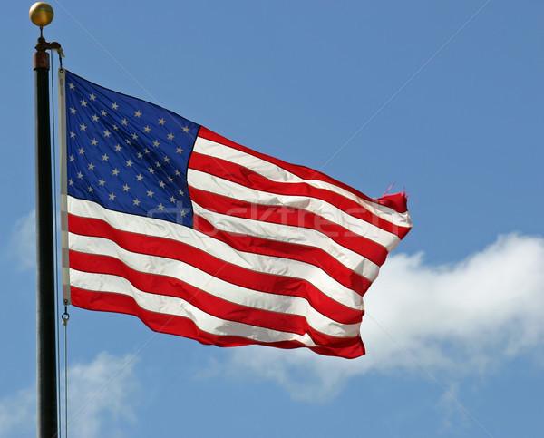 Pavillon joli drapeau américain vent étoiles Photo stock © chrisbradshaw