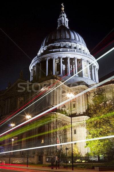 St. Paul's Cathedral and Light Trails in London Stock photo © chrisdorney