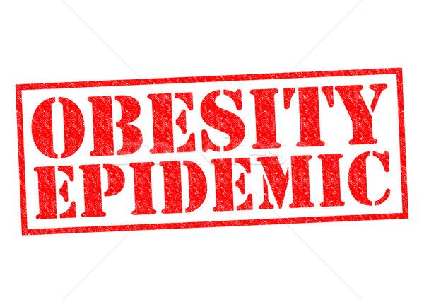 Elhízottság járvány piros pecsét fehér étel Stock fotó © chrisdorney