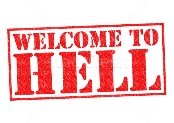 Benvenuto inferno bianco timbro diavolo Foto d'archivio © chrisdorney