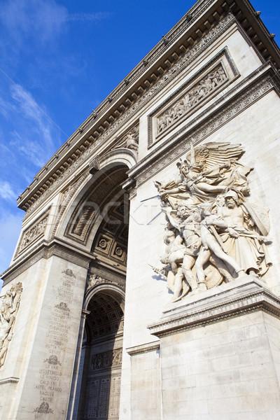 Триумфальная арка Париж впечатляющий Франция путешествия Blue Sky Сток-фото © chrisdorney
