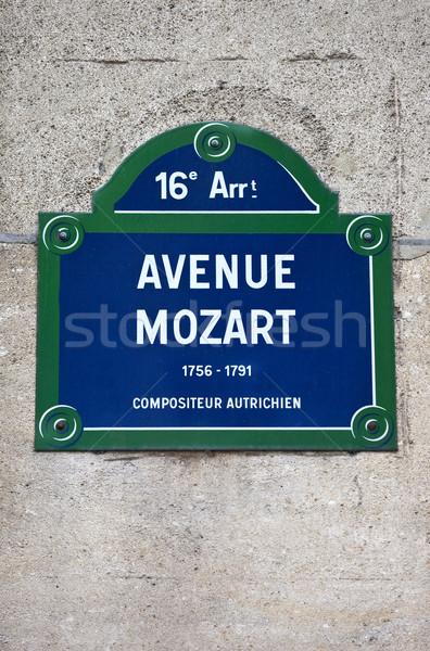 Stock fotó: Párizs · jelzőtábla · híres · zeneszerző · zene · felirat