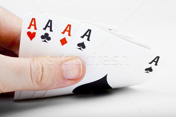 Quattro mano bianco cuore casino Foto d'archivio © chrisdorney