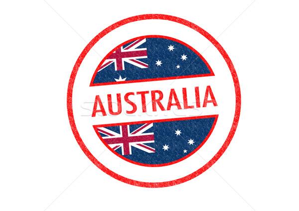 Australia blanco vacaciones botón etiqueta Foto stock © chrisdorney