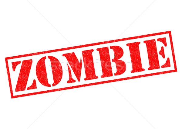 Zombi piros pecsét fehér címke ijesztő Stock fotó © chrisdorney