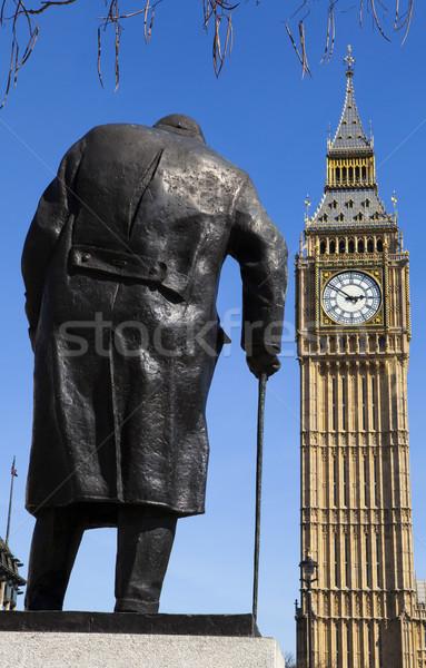 Estátua Londres icônico ministro parlamento praça Foto stock © chrisdorney