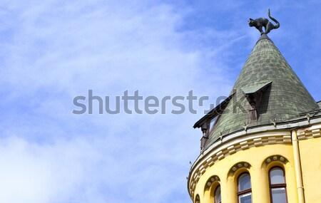 猫 家 リガ 彫刻 屋根 ラトビア ストックフォト © chrisdorney