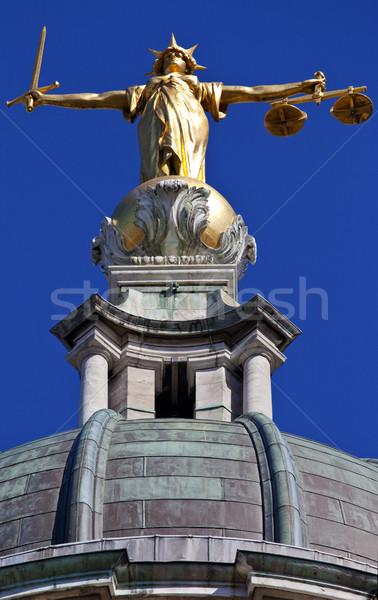 Foto stock: Senhora · justiça · estátua · velho · Londres · magnífico