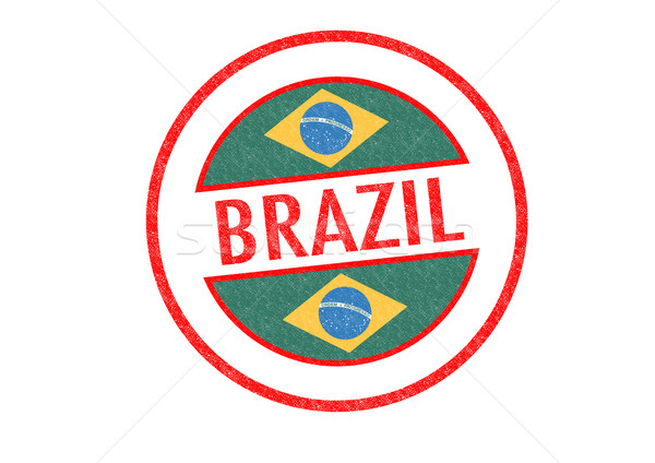 Бразилия белый флаг отпуск кнопки Сток-фото © chrisdorney