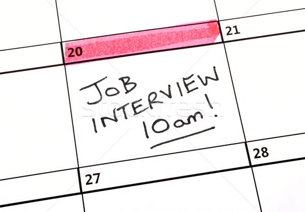 Foto stock: Entrevista · de · emprego · data · calendário · negócio · trabalhar · trabalhando