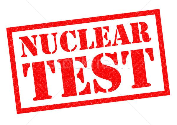 Nükleer test kırmızı beyaz imzalamak Stok fotoğraf © chrisdorney