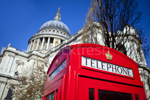 Stock photo: Red Telephone Box outside St. Paul's Cathedral in London