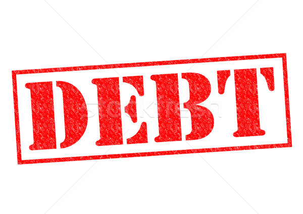 Foto stock: Dívida · vermelho · branco · negócio · assinar