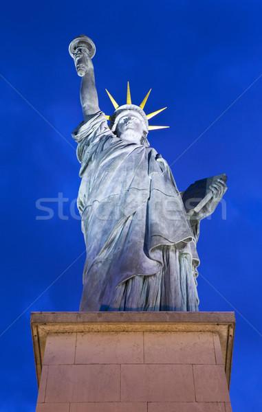 статуя свободы Париж iconic моста реке Сток-фото © chrisdorney