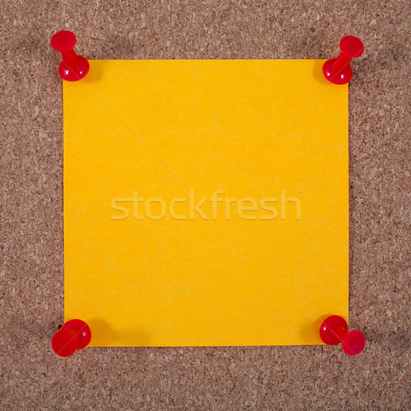 Blank Orange Note Paper Pinned to a Noticeboard Stock photo © chrisdorney
