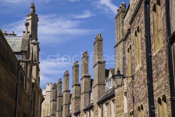 Starych cegły cambridge rząd ulicy edukacji Zdjęcia stock © chrisdorney