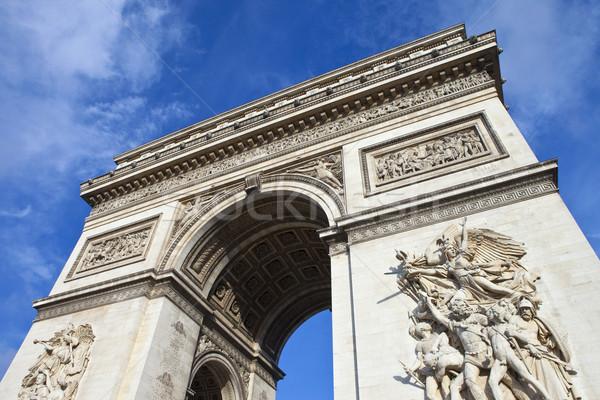 Сток-фото: Триумфальная · арка · Париж · впечатляющий · Франция · путешествия · Blue · Sky