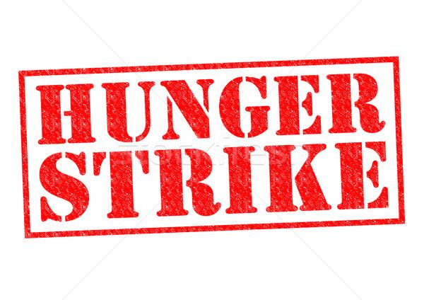 Głód strajk czerwony biały przycisk Zdjęcia stock © chrisdorney