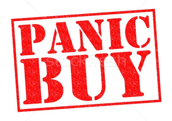 Pánik vásárol piros pecsét fehér vásárlás Stock fotó © chrisdorney