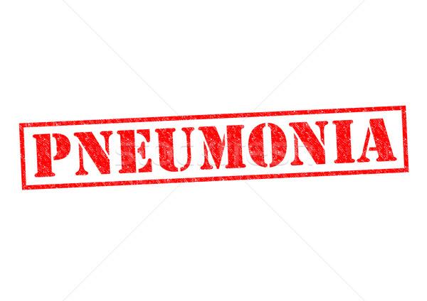 Tüdőgyulladás piros pecsét fehér egészség beteg Stock fotó © chrisdorney