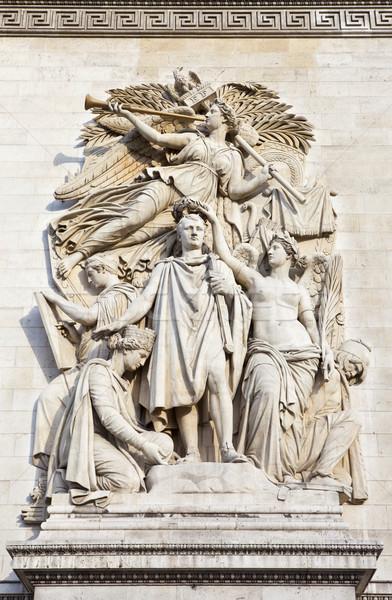 Sculptural Detail on the Arc de Triomphe in Paris Stock photo © chrisdorney